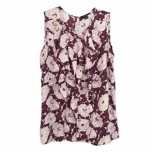Lands End Silk Floral Ruffle Tank Career Blouse M